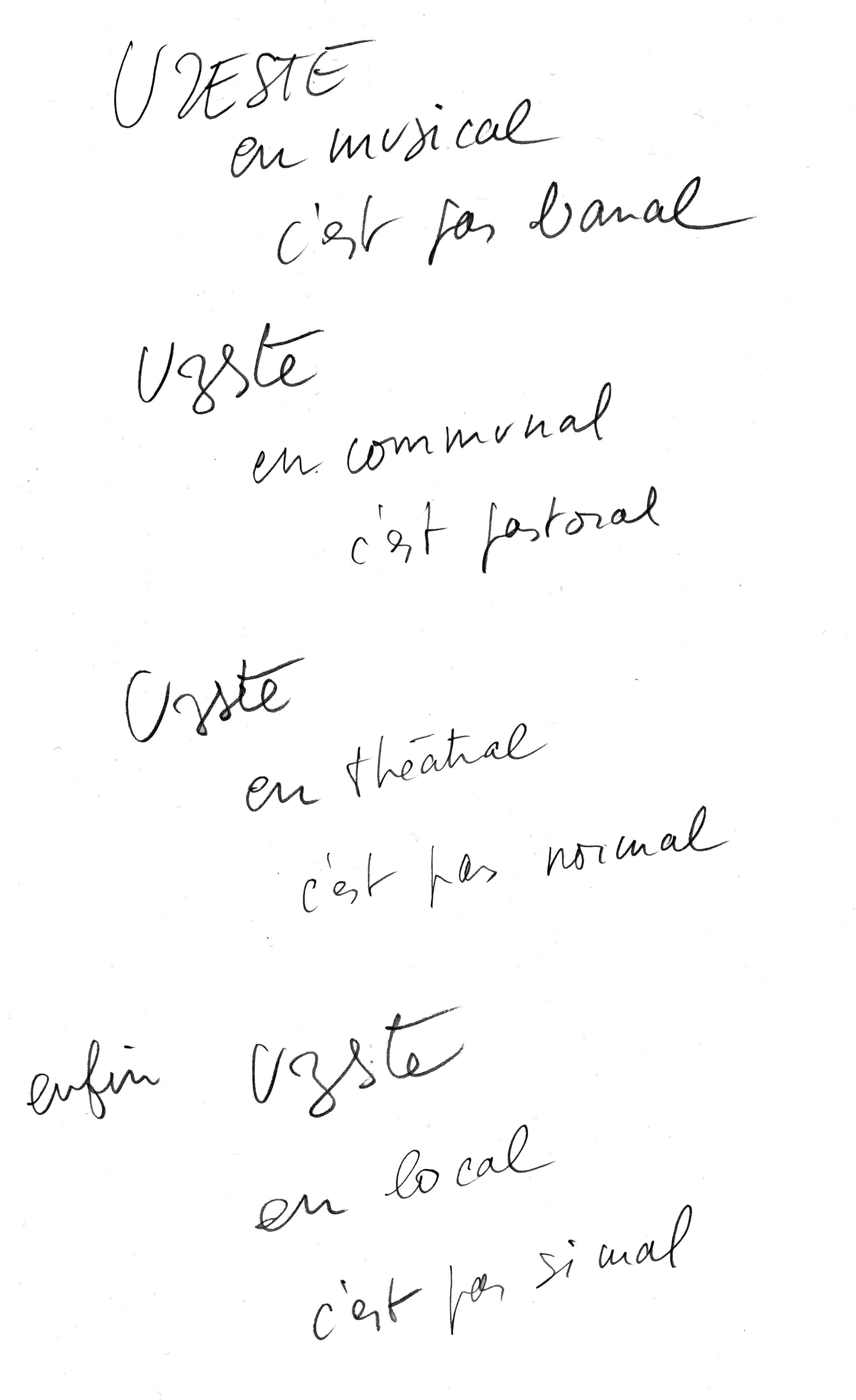Archives Compagnie Lubat Manuscrit de Bernard Lubat – s.d.